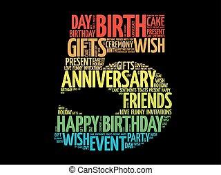 5 verjaardag, woord, wolk, vrolijke
