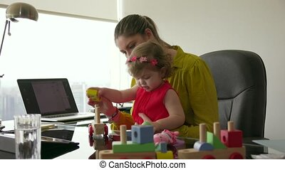 5 Woman In Career With Little Baby In Office - Adult...