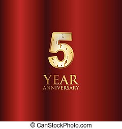 5 Year Anniversary Gold With Red Background Vector Template Design Illustration