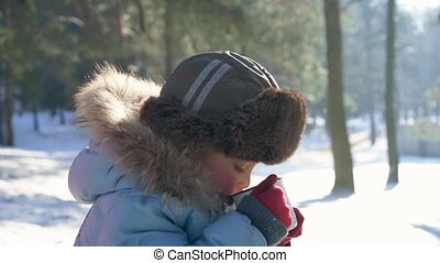 5 year boy drink hot tea in the winter forest