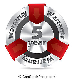 5 year warranty badge design