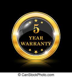 5 year warranty icon - Golden shiny icon on black background...