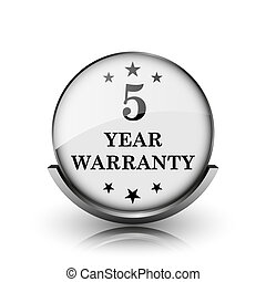 5 year warranty icon. Shiny glossy internet button on white...
