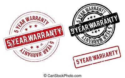 5 year warranty stamp. 5 year warranty round grunge sign