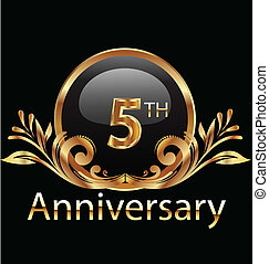 5 years anniversary birthday in gold