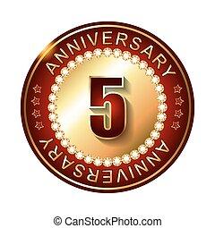5 Years anniversary golden label.