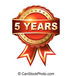 5 years anniversary golden label with ribbon. Vector illustration