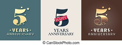 5 years anniversary set of vector icon, symbol, logo