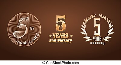5 years anniversary set of vector logo, icon, number