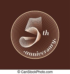 5 years anniversary vector icon. 5th celebration design.