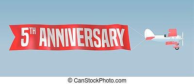 5 years anniversary vector illustration, banner, flyer,...