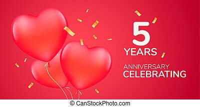 5 years anniversary vector logo, icon. Template banner with 3d red air balloons