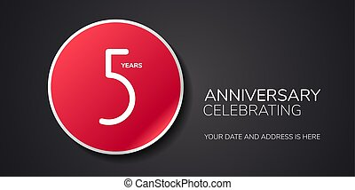 5 years anniversary vector logo, icon. Template design element with number