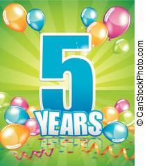 5 years birthday card