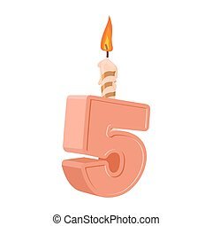 5 years birthday. Number with festive candle for holiday cake. five Anniversary