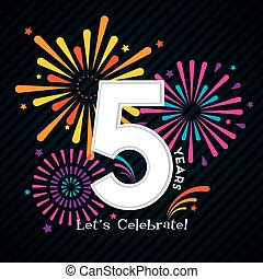 5 Years Celebration Design with Fireworks