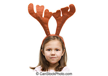 5 years old girl wearing a reindeer headband
