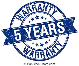 5 years warranty grunge retro blue isolated ribbon stamp