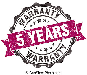 5 years warranty grunge violet seal isolated on white