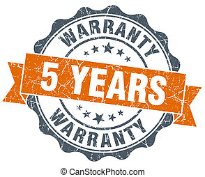 5 years warranty orange vintage seal isolated on white