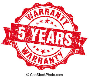 5 years warranty red vintage isolated seal