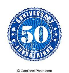 50, 年, 記念日, stamp.