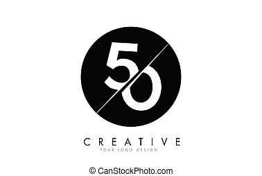 50 5 0 Number Logo Design with a Creative Cut and Black ...
