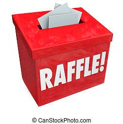 50-50, 抽彩售貨, 進入, 為了取得勝利, 箱子, 下降, 你, 票