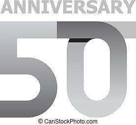 50, años, aniversario, número