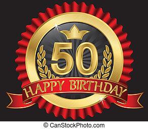 50, años, feliz cumpleaños, dorado, labe