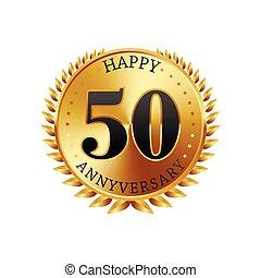 50, anni, anniversario, dorato, etichetta