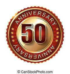 50, anni, anniversario, dorato, label.