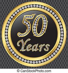 50, anni, anniversario, felice, birthda