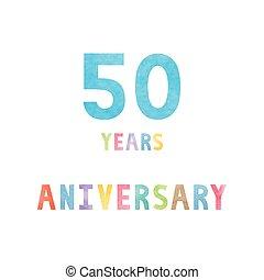 50, anos, cartão aniversário, celebração