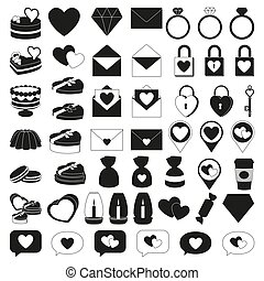 50 black and white valentine elements