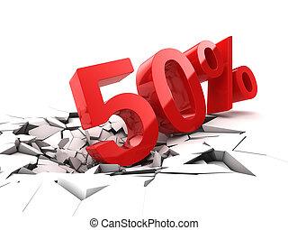 50, cento, desconto