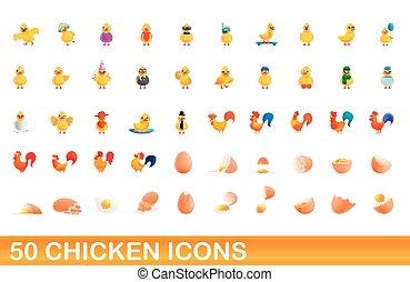 50 chicken icons set, cartoon style