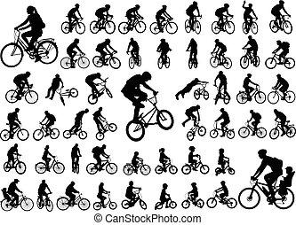 50, cobrança, alto, silhuetas, ciclistas, qualidade