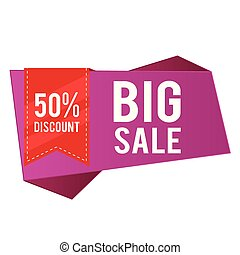 50% Discount Big Sale Purple Banner Red Ribbon Vector Image
