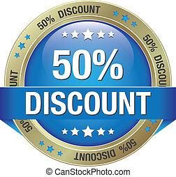50 discount blue gold button