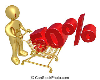 50% Discount - 3d person pushing a shopping cart with a 50%...