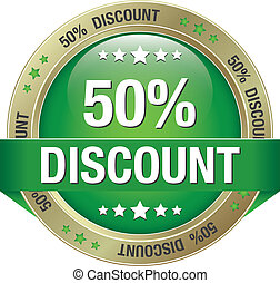 50 discount green gold button