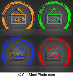 50 discount icon sign. Fashionable modern style. In the orange, green, blue, red design.