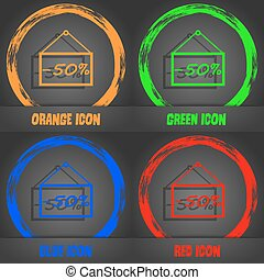 50 discount icon sign. Fashionable modern style. In the orange, green, blue, red design. Vector