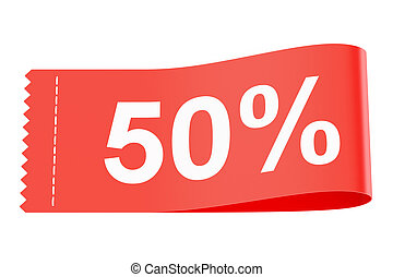 50% discount red clothing label, 3D rendering