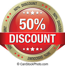 50 discount red gold button