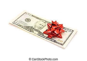 50 Dollar with holidays bow