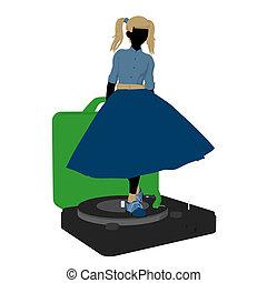 50, dziewczyna, sylwetka, ilustracja