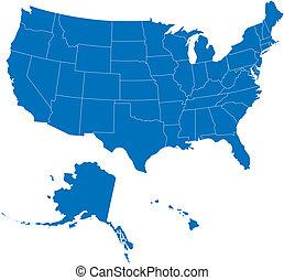 50, estados, eua, azul, cor