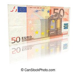 50, euro, à, reflet